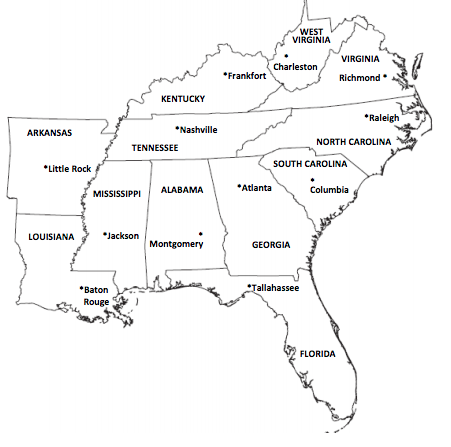 graphic relating to Southeast Region States and Capitals Map Printable referred to as Southeast Location