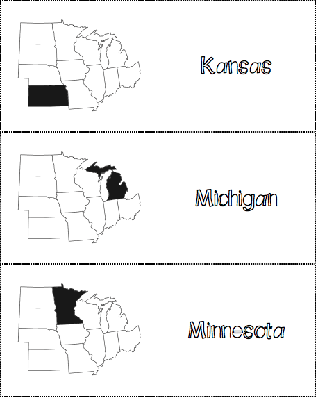 graphic relating to State and Capitals Flash Cards Printable known as Midwest Area