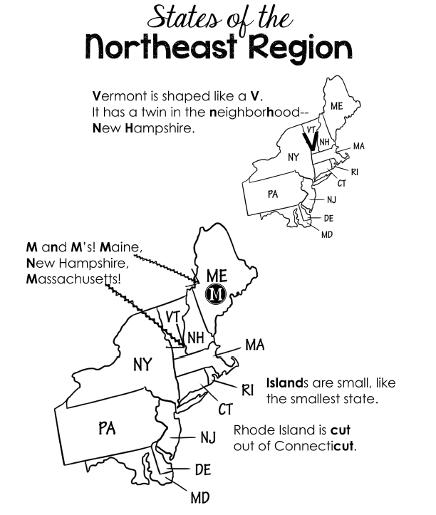 graphic about Northeast States and Capitals Quiz Printable titled Northeast Location